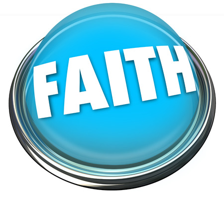 Faith word on a blue button or flashing light