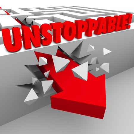 unbound: Unstoppable word on a maze wall as a red arrow crashed through it Stock Photo