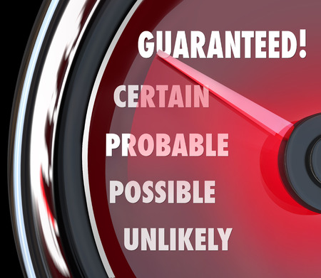 certain: Guaranteed, Certain, Probable, Possible and Unlikely words on a speedometer Stock Photo