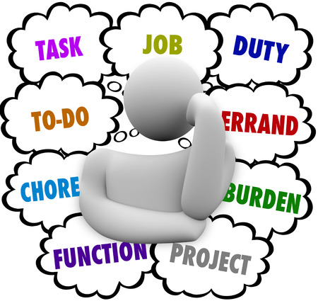errand: A thinker and thought clouds filled with words from a to-do list including task, job, chore, function, project, duty, errand and burden