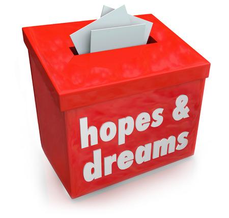 희망과 빨간색 상자에 꿈 단어 스톡 콘텐츠