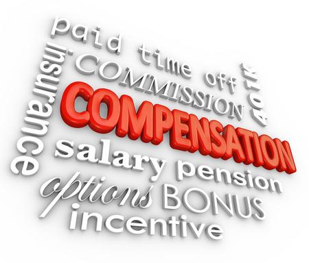 Compensación y palabras relacionadas con letras 3d en un fondo blanco, incluyendo salario, comisiones, seguros, tiempo libre pagado, bonificaciones, incentivos y más