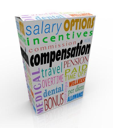 Compensatie woord op doos om het totale pakket van loon en voordelen die u ontvangt op een baan, inclusief bonus, commissie, verzekering, salaris, pensioen, vrije tijd, per diem en 401k symboliseren Stockfoto