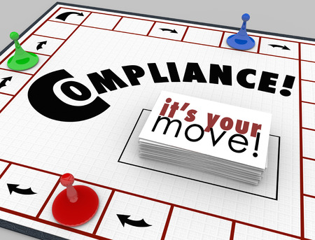 Compliance word on a board game with cards reading Its Your Move to illustrate learning to follow rules, regulations and guidelines for your business or income Stock Photo