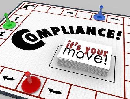 Naleving woord op een bordspel met kaarten lezen It's Your Move te illustreren leren regels, voorschriften en richtlijnen voor uw bedrijf of een inkomen te volgen