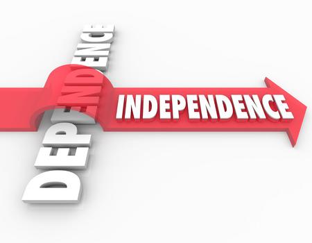 autonomia: Palabra Independencia sobre la dependencia para ilustrar tomando pasos para convertirse en autosuficiente en lugar de depender de otros para su apoyo, los ingresos o las necesidades de la vida Foto de archivo