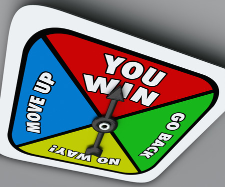 spinner: You Win words on a board game spinner with arrow pointing to a lucky space to help you be triumphant and achieve victory over other players in a competition