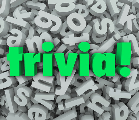 trivia: Trivia word in 3d letters on a background of jumbled alphabet shapes to illustrate a fun quiz or knowledge game