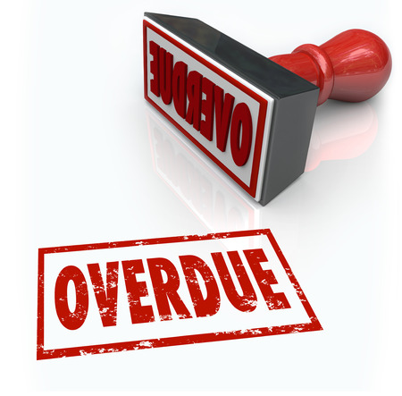 tardiness: Overdue word in a red stamp to illustrate a late or missed payment or delayed response past a deadline
