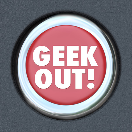 freak out: Geek Out button to illustrate the power of pop culture obsession among nerds who get wrapped up in favorite pasttimes Stock Photo