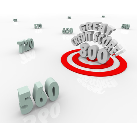 Great Credit Score words over a high rating or number and target bulls-eye to illustrate an attractive candidate for loaning or borrowing money for a mortgage or other large money purchase photo