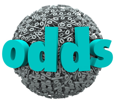 Odds word on a ball of percentage signs to illustrate luck, playing a game with high risk, and the likelihood of achieving a desired result Stock Photo