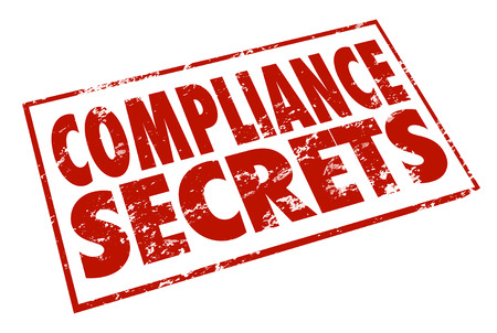 mitigate: Compliance Secrets word in red stamp to illustrate help, advice and tips for getting in compliance with important rules, regulations, laws and guidelines
