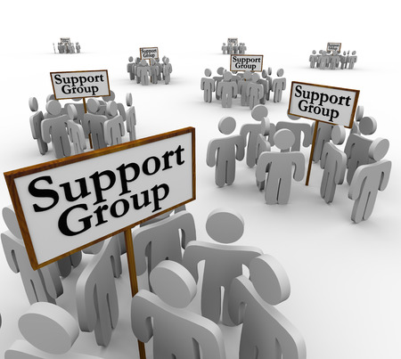 Support Group signs with people or patients gathered around them to share personal experience and stories with communication about problems, addiction or trauma Stock Photo