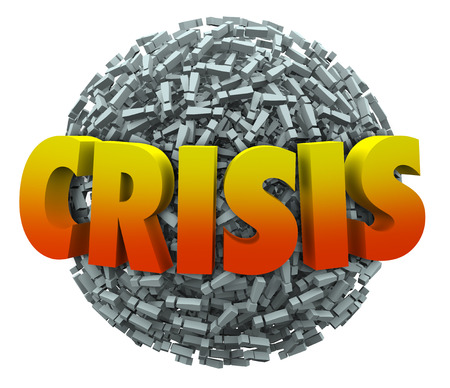 ultimatum: Crisis word in 3d letters on a ball or sphere of exclamation points or marks to illustrate emergency, urgent trouble or problem that must be addressed and overcome