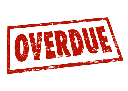 tardiness: Overdue word in red ink stamped to indicate a late assignment, payment or appointment due date behind schedule