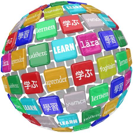 Aprenda palabra traducida en diferentes idiomas en una bola de azulejos que ilustran un mundo de diversas culturas y dialectos Foto de archivo