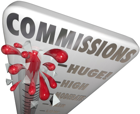 Commissions word on a thermometer measuring the level of your sales income, profits and share of money earned