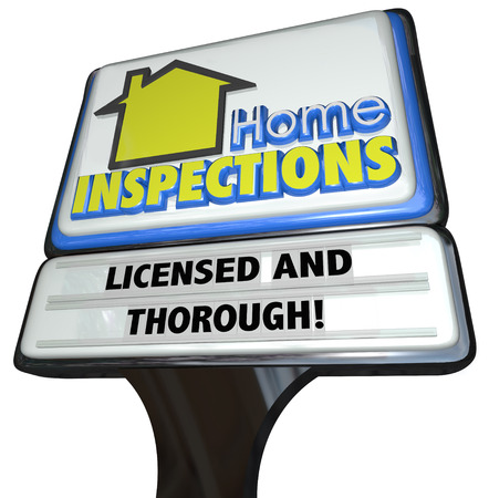 building inspector: Home Inspection words on a business sign advertising an inspector service for reviewing and inspecting houses
