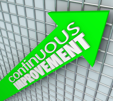 Continuous Improvement words on an arrow aiming upward to illustrate increasing sales, learning, betterment and getting more results
