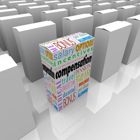 generoso: Compensaci�n total del paquete palabras en una caja entre muchos empleadores que compiten para ilustrar la empresa o negocio con el sueldo m�s atractivo y generoso, bonsues y otros beneficios Foto de archivo