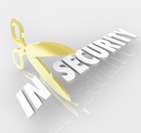 Insecurity word cut by scissors to create Security to illustrate mental wellbeing and peace of mind, prevention and protection to create safety
