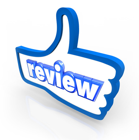 evaluating: Review word on a blue thumbs up symbol to illustrate a good or positive rating or comment from a customer, visitor or reader