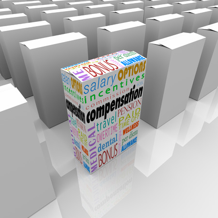 compensated: Compensation total package words on a box among many competing employers to illustrate the company or business with the most attractive and generous salary, bonsues and other benefits