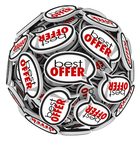 Bid: Best Offer words in speech bubbles to illustrate the highest price offered by a buyer for your home, products, merchandise, goods or service you are selling in auction or other proposal