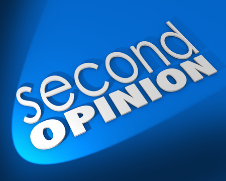 Second Opinion words on a blue background to illustrate seeking a different judgment or verification