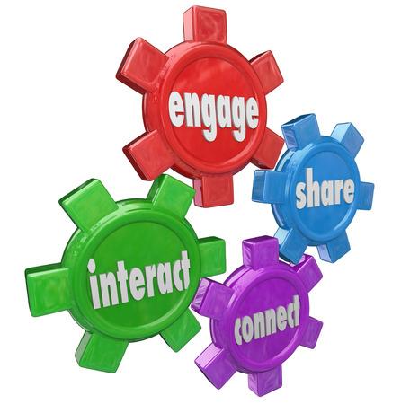 personas comunicandose: Engage, Interact, Compartir y conectar palabras en engranajes para ilustrar el intercambio de información y de la comunicación en una red de personas Foto de archivo