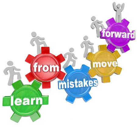 Learn From Mistakes Move Forward words on gears and people marching, climbing or walking up them to illustrate people who make errors but keep going toward their goal or mission