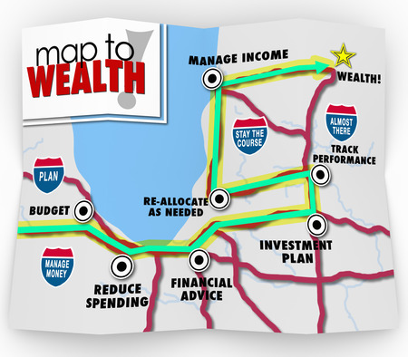 earn more: A map to wealth with directions and destination listed with instructions on how to earn more money and grow your income to meet a financial goal