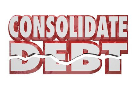 simplify: Consolidate Debt 3d Words to illustrate help or assistance in combining your financial obligations and bills to reduce and simplify your money owed to debtors