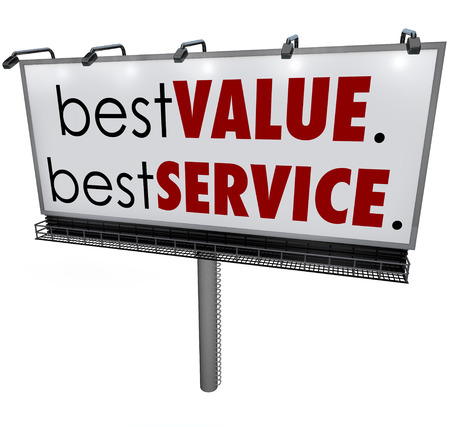 advertised: Best Value, Best Service words on a billboard to illustrate a top choice advertised to attract new customers with competitive advantage over other products or services Stock Photo