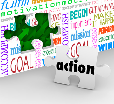 Action is the final piece of the puzzle needed to complete change, innovation and success in motion to solve a problem photo