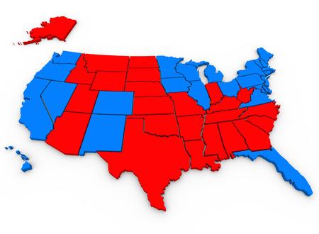 głosowało: 3d świadczonych, ilustrowany Stany Zjednoczone Ameryki mapie pokazuje niebieskie stany, że głosowali na Baracka Obamę i czerwonych stanów, które głosowały za Mitt Romney w USA wybory prezydenckie 2012 Zdjęcie Seryjne