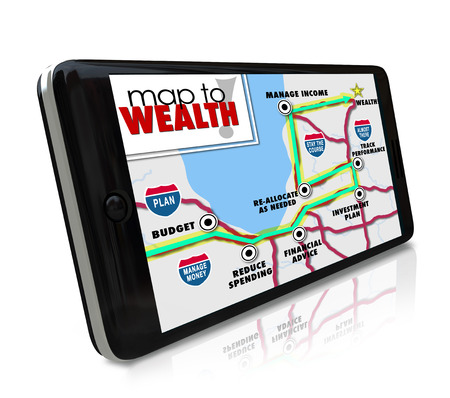 managing money: Map to Wealth navigation on GPS global positioning system on phone or other smart mobile device to lead you to earning more money, income, revenue or profits in investment or career