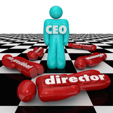 reigning: CEO word or abbreviation on a person standing on a chess board as superior over lower people in the organization in a power struggle such as manager, director and vice president