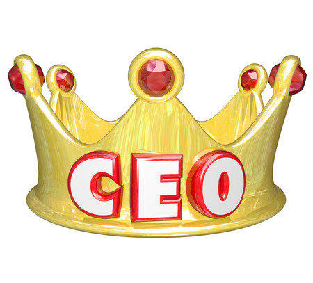 reigning: CEO word or acronym on a gold crown to illustrate a top leader, manager or other executive position ruling over a group, company or organization