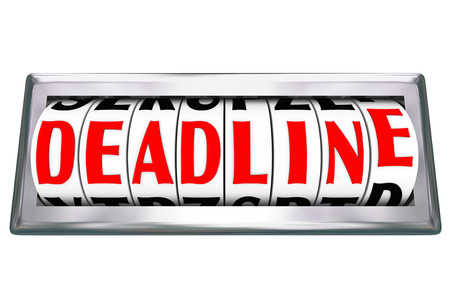 Deadline word on odometer or clock dials to illustrate a countdown or due time or date for a complete or final moment