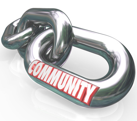 linked: Community word on chain links to illustrate diverse societies linked together in peaceful coexistence