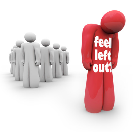 rejection: Feel Left Out words on a person isolated from the group, alone and depressed for being unpopular