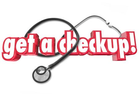 健康診断を得る健康を維持し、病気や病気を防ぐために医師から定期的な身体検査を取得する必要性を説明するために聴診器と言葉 写真素材