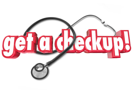 check up: Get a Checkup words and stethoscope to illustrate the need to get regular physical examinations from a doctor to maintain health and prevent sickness and disease