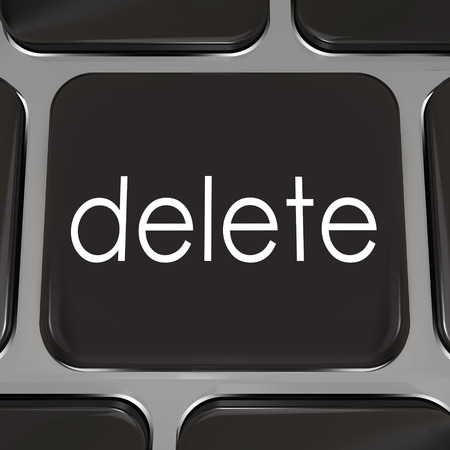 deletion: Delete Key on a black computer keyboard key to illustrate erasing or correcting a mistake so you can redo a message or project that was wrong and make it right