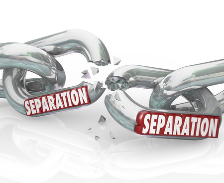 breaking off: Separation word on chain links breaking apart and dividing or pulling away