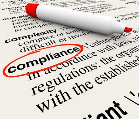 Compliance word circled in a dictionary and a definition to explain the meaning, with terms like rules, regulations, laws, and guidelines