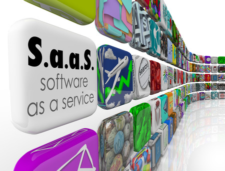 Saas Software as a Service woorden op een toepassing of programma tegel naar programma's kunt u een licentie voor uw bedrijf te illustreren Stockfoto