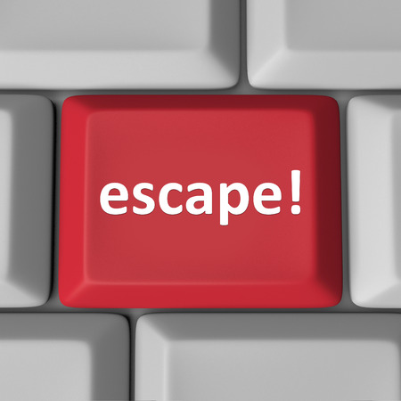 escape key: Escape word on a red computer key or button to illustrate correcting and error or fixing a problem, escaping from a bad situation Stock Photo